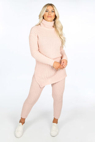 Pink Knitted Longline Jumper & Leggings Set