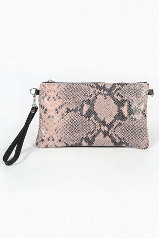 Pink Leather Snake Clutch Bag