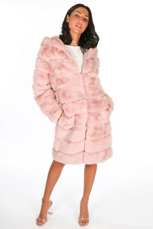 Pink Long Faux Fur Coat With Hood