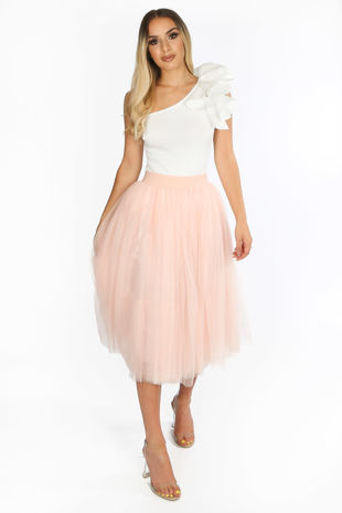 Midi Tulle Skirt In Light Pink
