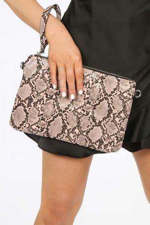 Pink Faux Snake Skin Clutch Bag