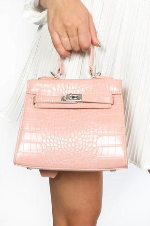 Pink Mini Faux Croc Skin Tote Bag