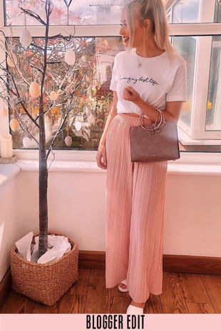 Pink Pleated Palazzo Trouser