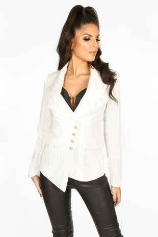 Pinstripe Asymmetric Blazer In White