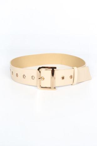 Cream Waist Belt With Gold Buckle