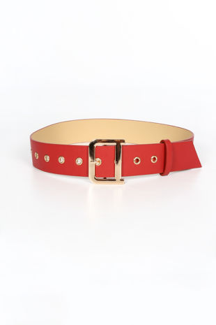 Red Waist Belt With Gold Buckle