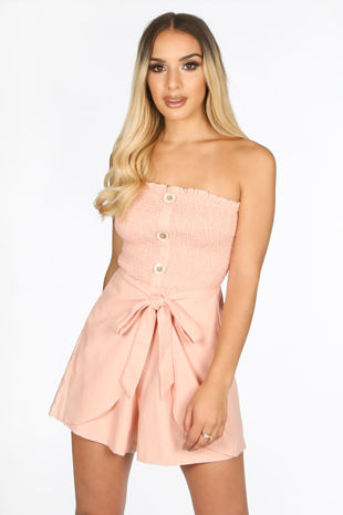 Pink Wrap Front Button Playsuit