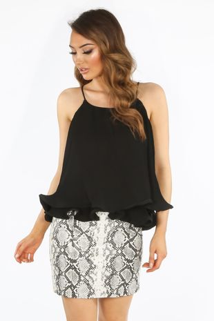 Black Pleated Swing Cami Top