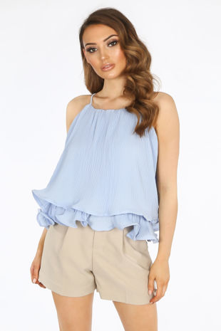 Blue Pleated Swing Cami Top