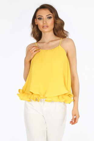 Yellow Pleated Swing Cami Top