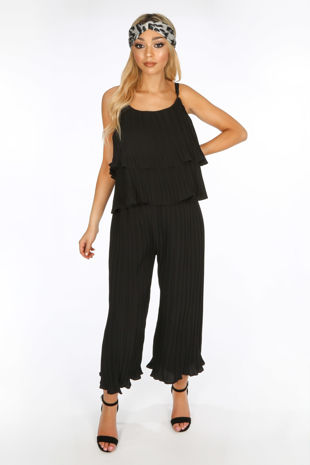 Crinkle Pleat Palazzo Trousers and Cami in Black