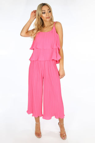Crinkle Pleat Palazzo Trousers and Cami in Fuchsia