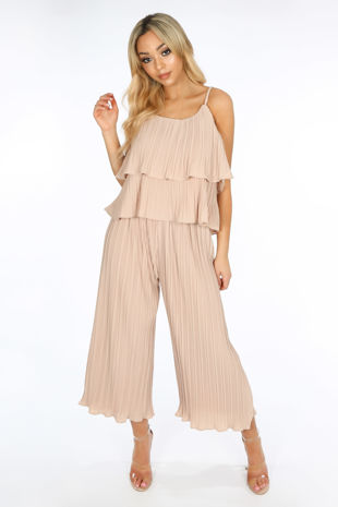 Crinkle Pleat Palazzo Trousers and Cami in Nude