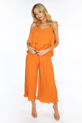 Crinkle Pleat Palazzo Trousers and Cami in Orange