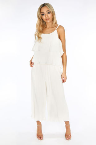 Crinkle Pleat Palazzo Trousers and Cami in White