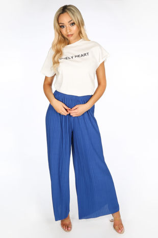 Cobalt Blue Pleated Palazzo Trouser