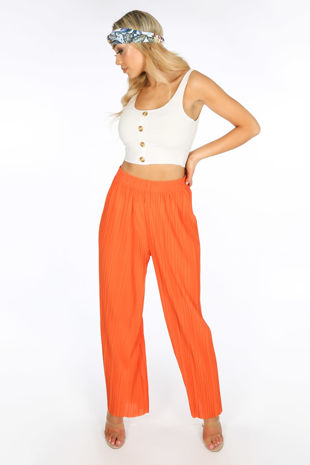 Orange Pleated Palazzo Trouser