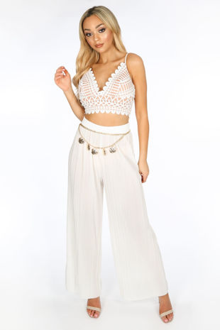 White Pleated Palazzo Trouser
