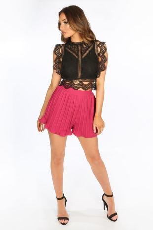 Fuchsia Pleated Shorts