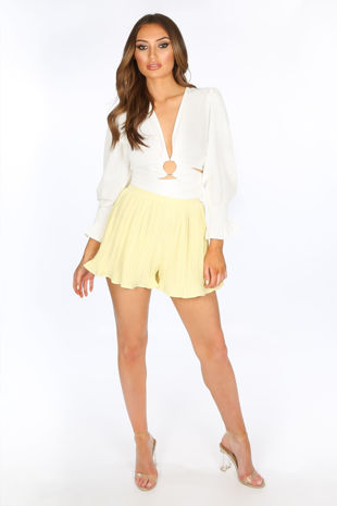 Yellow Pleated Shorts