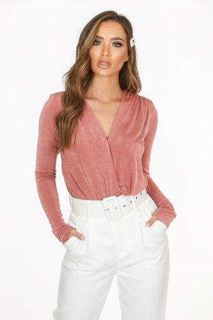 Blush Long Sleeve V-Neck Bodysuit