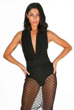 Plunge Front Lurex Bodysuit In Black