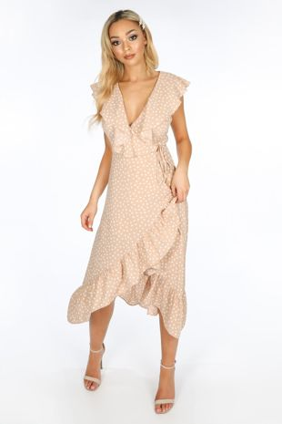 Sleeveless Midi Wrap Dress in Nude Polka Dot