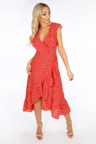 Sleeveless Midi Wrap Dress in Red Polka Dot