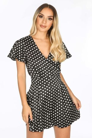 Black Satin Polka Dot Playsuit