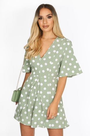 Green Tailored Polka Dot Playsuit