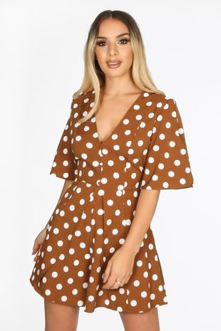 Tan Tailored Polka Dot Playsuit