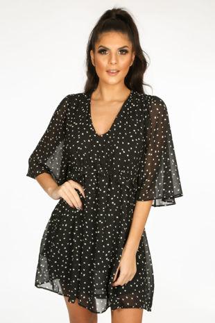 Black Polka Dot Chiffon Smock Dress