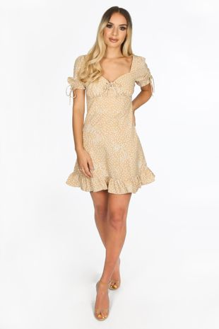 Beige Polka Dot Day Dress With Frill Hem