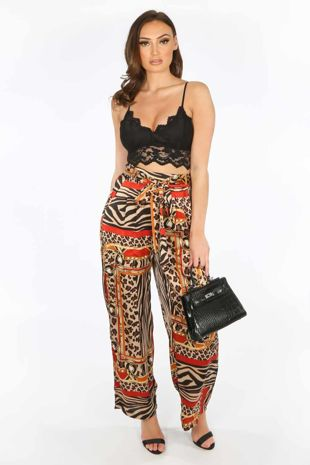 Scarf Print Satin Trousers with Tie Waist