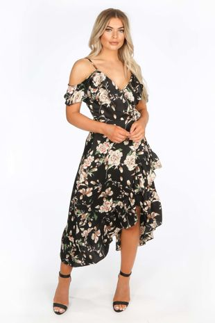 Floral Frill Wrap Midi Dress In Black