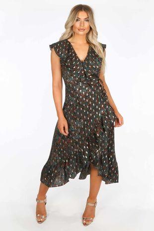Green Gold Foil Leopard Print Wrap Midi Dress