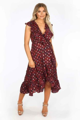 Red Gold Foil Leopard Print Wrap Midi Dress