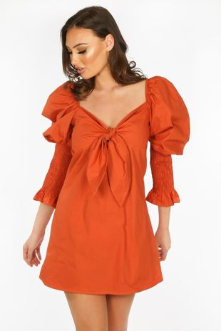 Tan Tie Front Dress With Puff Sleeves