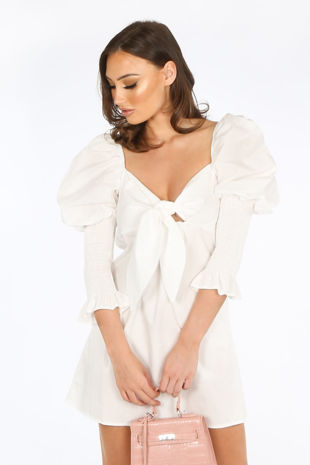 White Tie Front Dress With Puff Sleeves