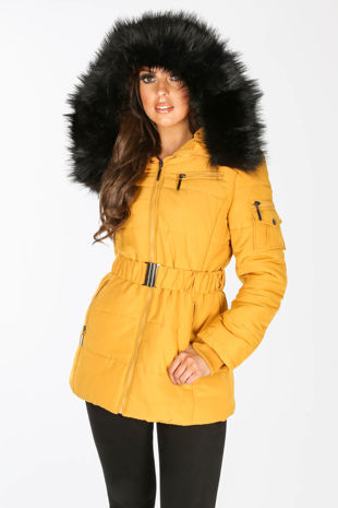Belted Puffer Jacket With Faux Fur In Mustard