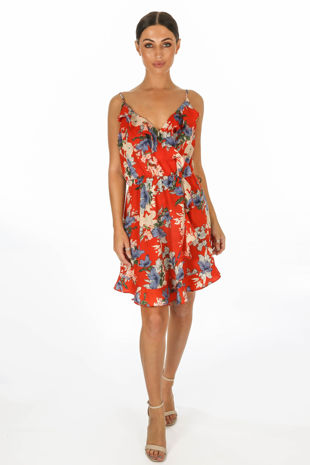 Red Floral Printed Strappy Wrap Dress