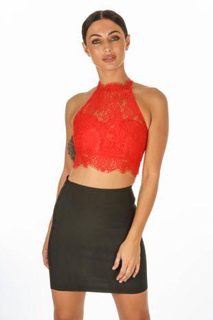Red High Neck Eyelash Lace Crop Top