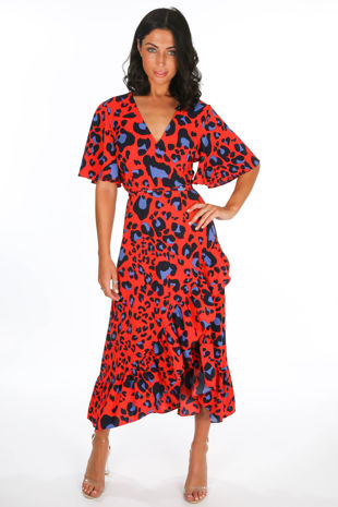 Red Leopard Print Wrap Midi Dress