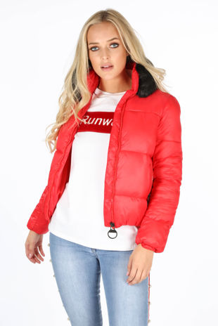 Red Puffer Bomber Jacket With Faux Fur Collar