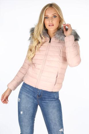 Pink Reversable Puffer Faux Fur Jacket