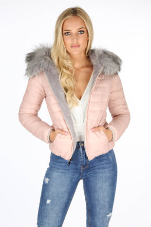 Pink Reversable Puffer Faux Fur Jacket