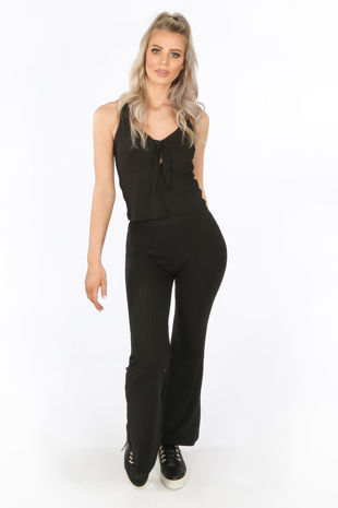 Black Ribbed Jersey Tie Front Co-ord
