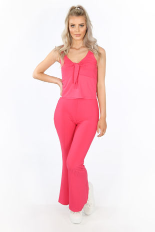Fuchsia Ribbed Jersey Tie Front Co-ord
