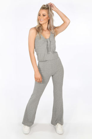Grey Ribbed Jersey Tie Front Co-ord