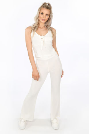 4eb2751c2950 White Ribbed Jersey Tie Front Co-ord
